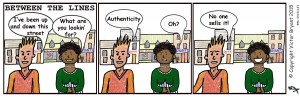 Three frame Between the Lines cartoon strip